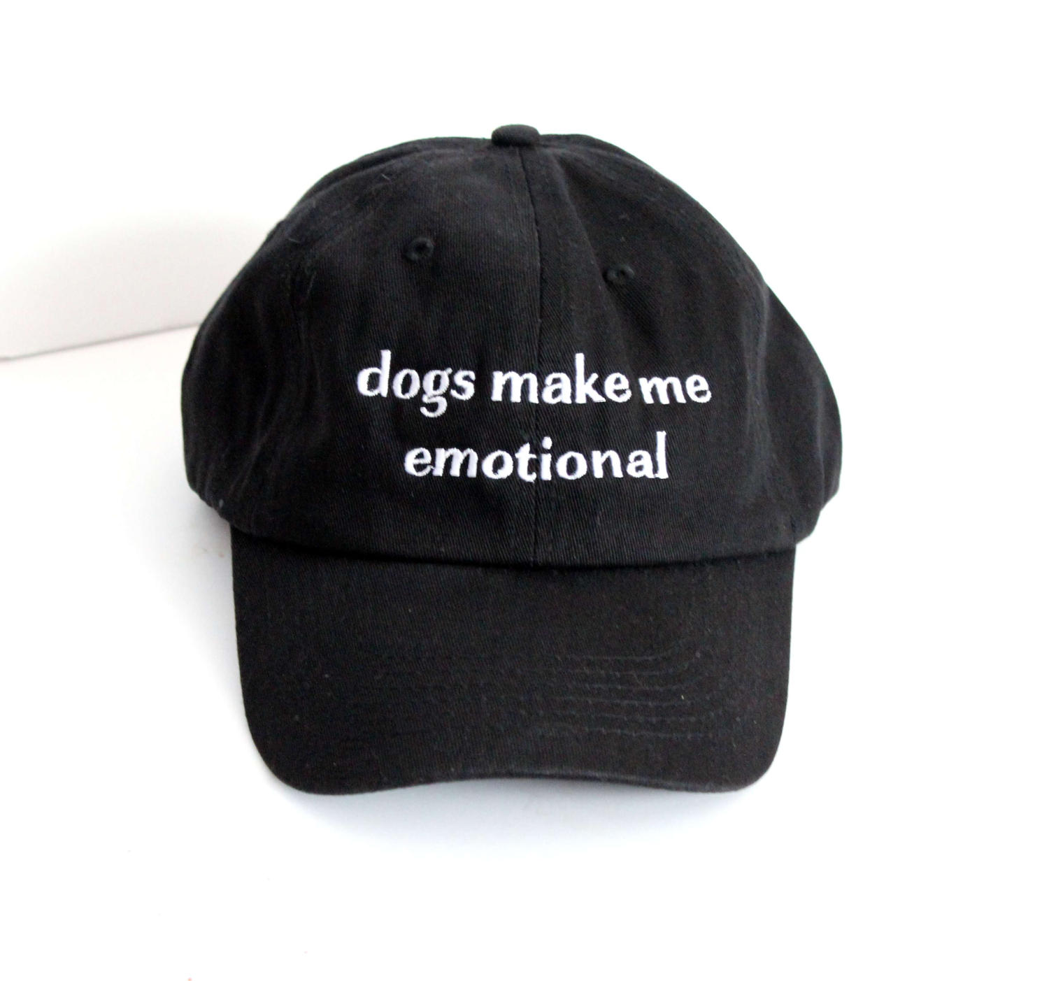 b72ceef4 Dogs Make Me Emotional black and white Embroidered Dad hat // cotton ...