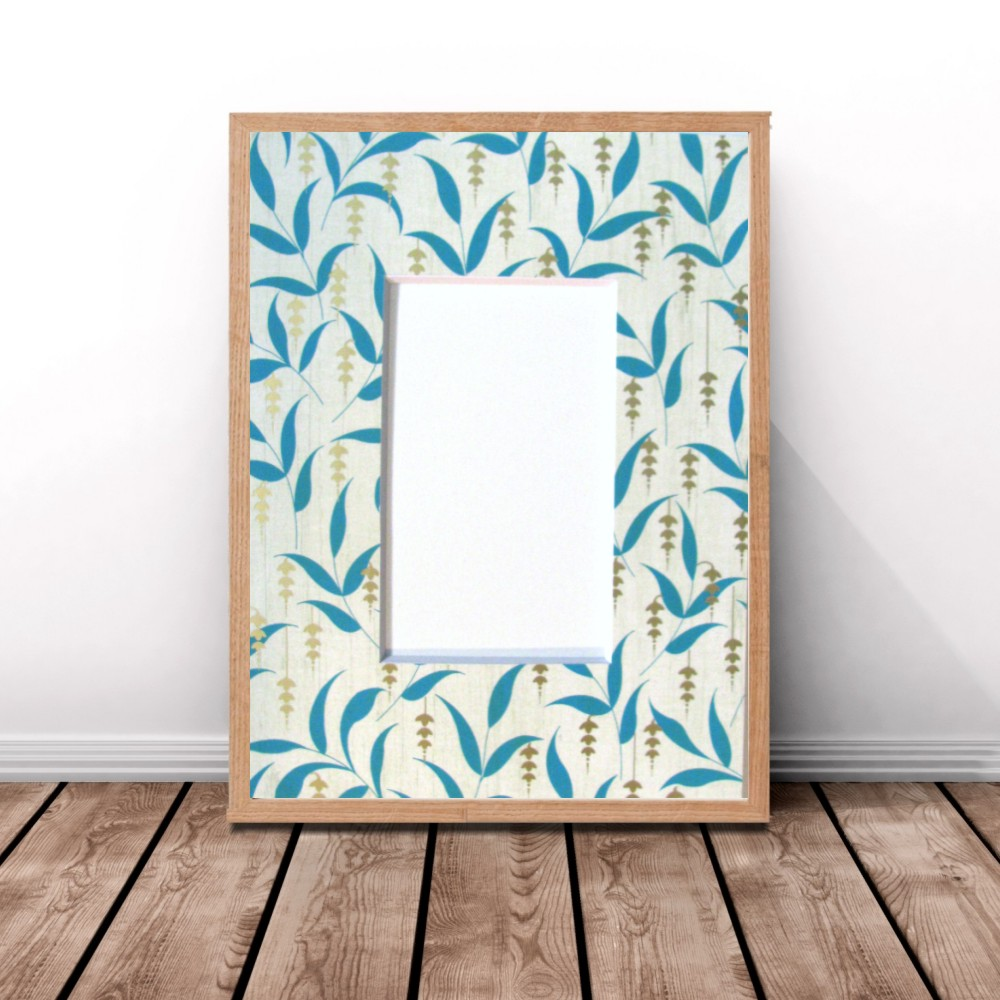 Pre-Cut Picture Frame Mat,Teal Leaf and Metallic Gold,Photo Frame ...