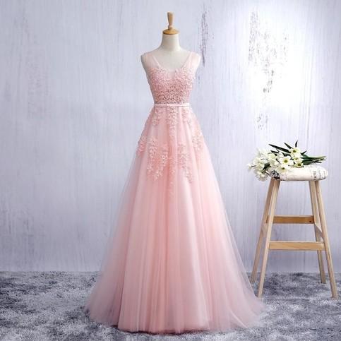 Custom Made Pink V Neck Prom Dress Backless Tulle Formal