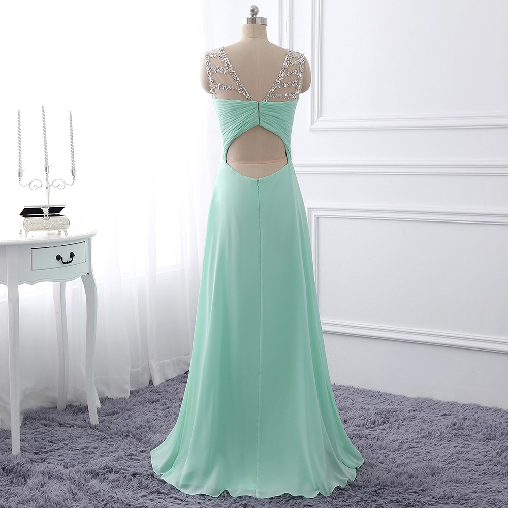 2017 Mint Green Chiffon Prom Dress,Illusion Formal Gown With Cut Out ...