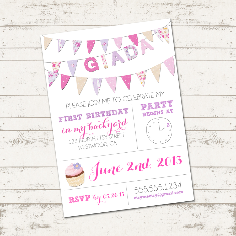 Girls Birthday Invitation - Colorful Fabric Bunting - Pretty, Floral ...