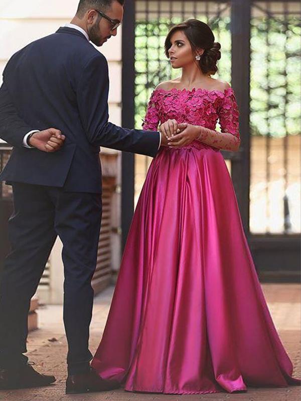 31b1a3b64f Appliques Prom Dress,Fuchsia A-line Off-the-shoulder Elastic Woven Satin
