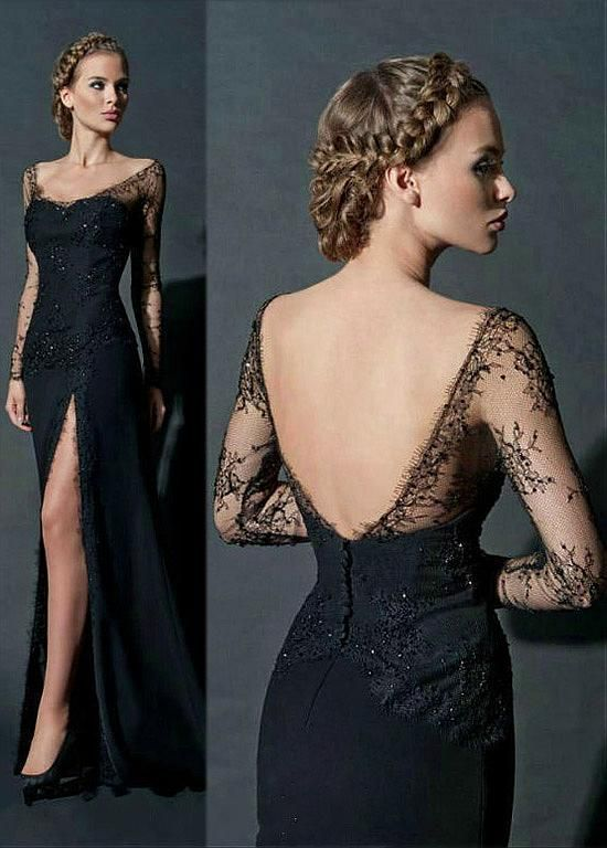 Black Long Sleeves Prom Dresses Off-the-Shoulder Lace Beading Side ...