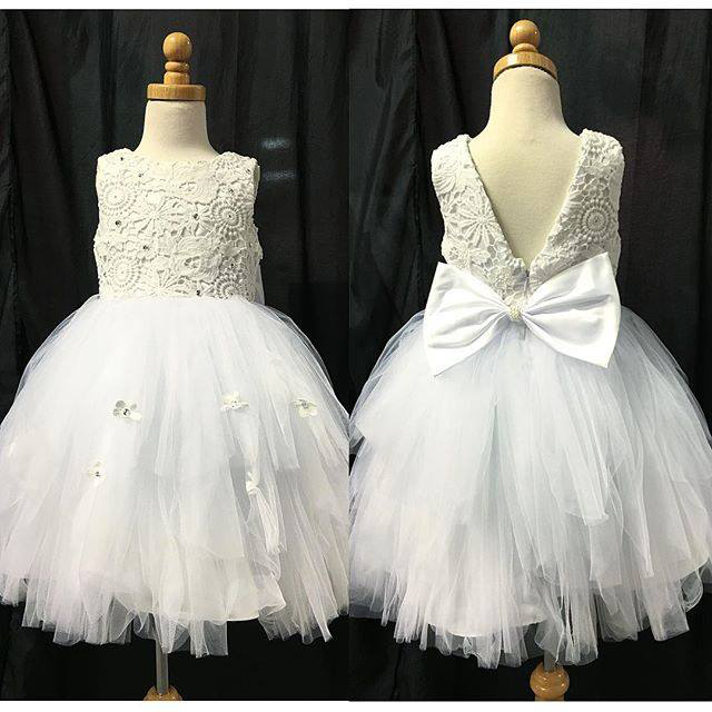 03e15c0e5ef Lace Bodice White Tulle Skirt Flower Girl Dresses