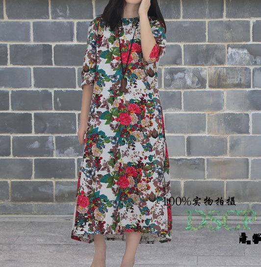 plus size cotton linen dress women summer floral vestidos maternity flower  printed skirt boho short sleeves from UNGL