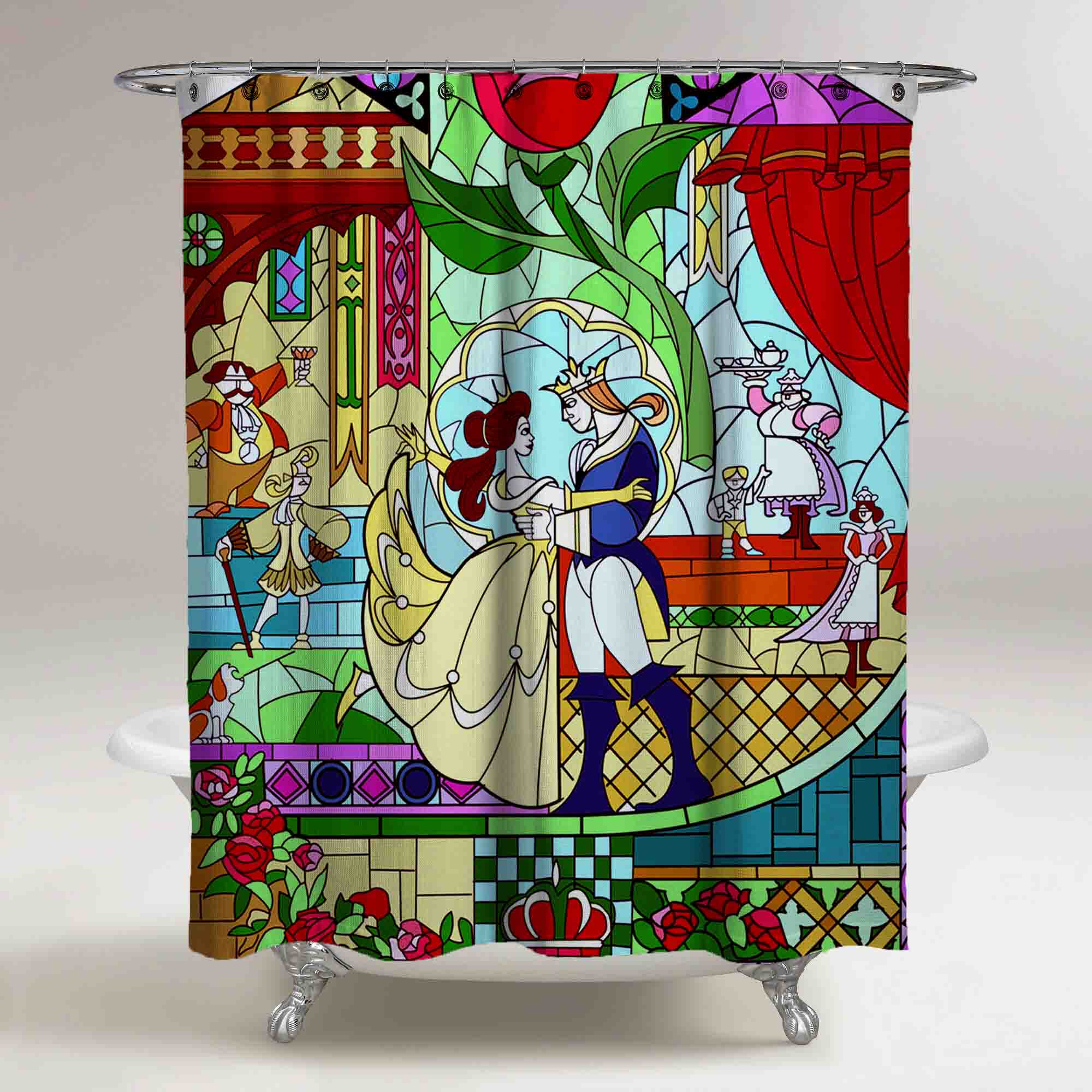 Beauty And The Beast Stained Glass Custom Shower Curtain Print On