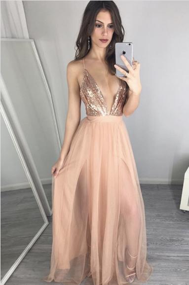 bdd3caba A-line Prom Dresses,Deep V-neck Prom Dress,Floor Length Prom ...
