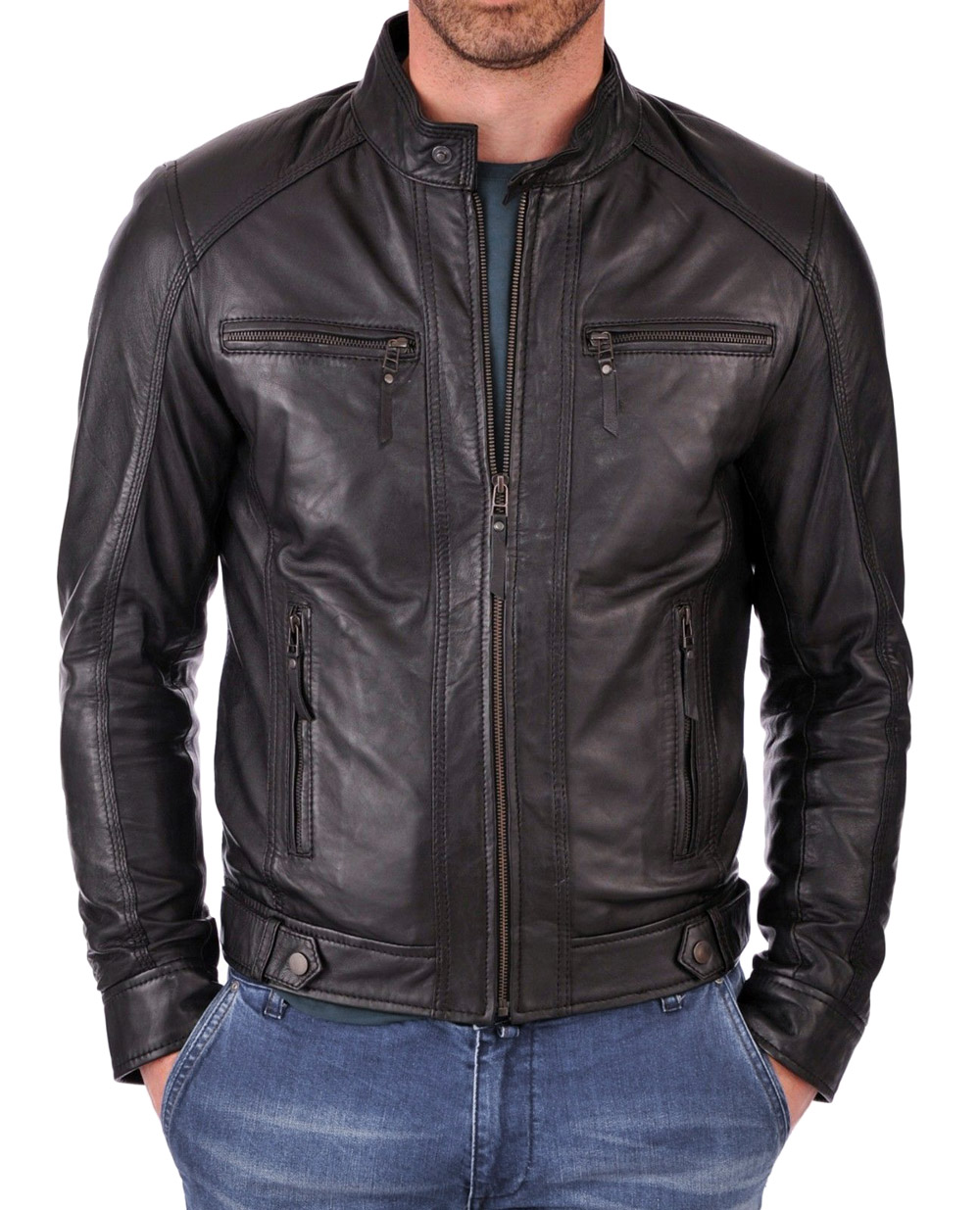 8599887f6 New Men's Genuine Lambskin Leather Jacket Black Slim fit Biker Motorcycle  jacket