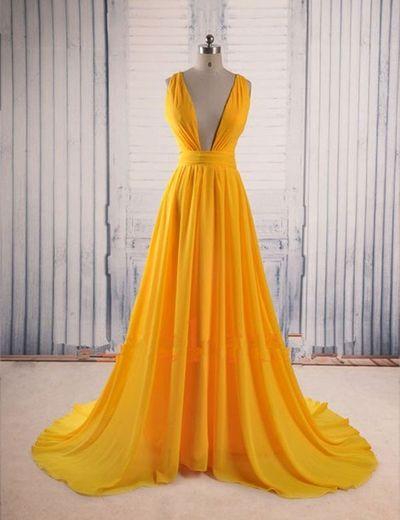 Modern prom dress,V-neck prom dress,A-line prom dress,yellow evening ...