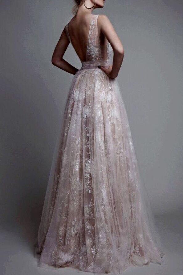 Deep V-neck Nude Line White Lace Prom Dresses 7e9be2451
