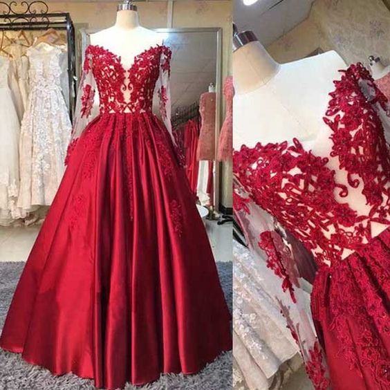 4f5eed508b16 AM63 Red Long Sleeves Off the Shoulder Long 2017 Prom Dress Ball Gown