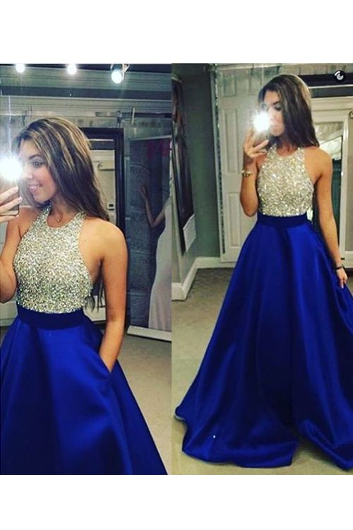 77faf7250b2c Sexy Halter Floor Length Chiffon Blue Backless Prom Dress With Beading,180