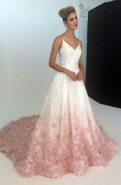 V-neck silk organza ball gown wedding dress with blush ombre floral ...