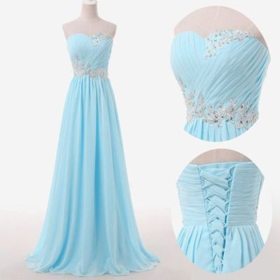 Light Blue Prom Dresses,Sweetheart Long Evening Dresses,Lace up Back ...