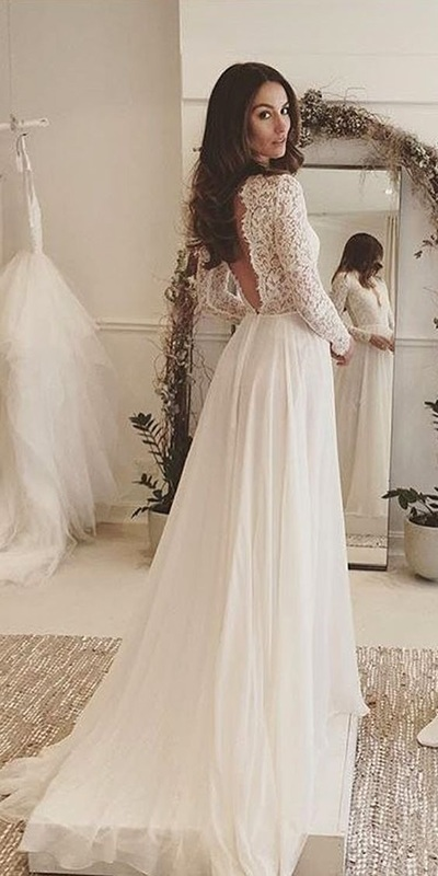 White Rustic Wedding DressesBeach Tulle Lace GownLong Sleeveless Prom Dress L30