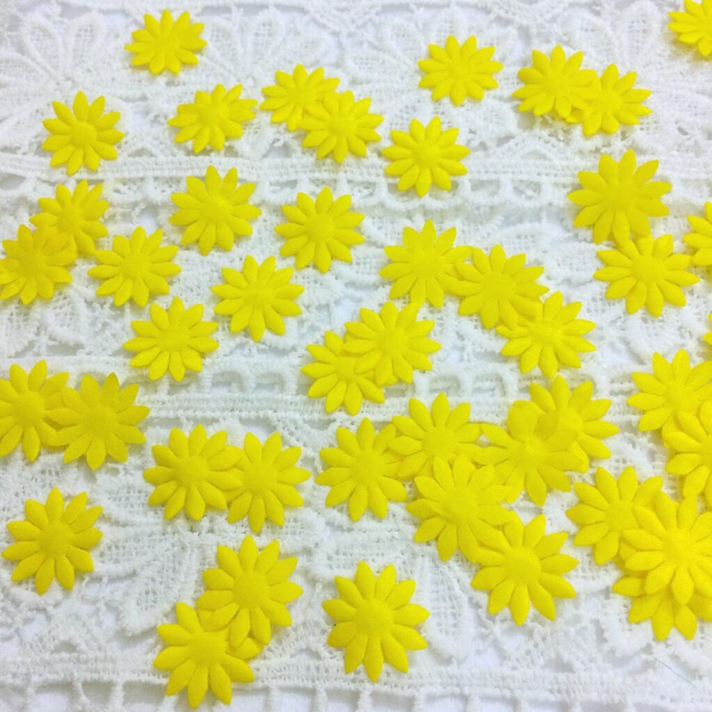 Brilliant Yellow Die Cut Flowers Fabric Chrysanthemum Mini