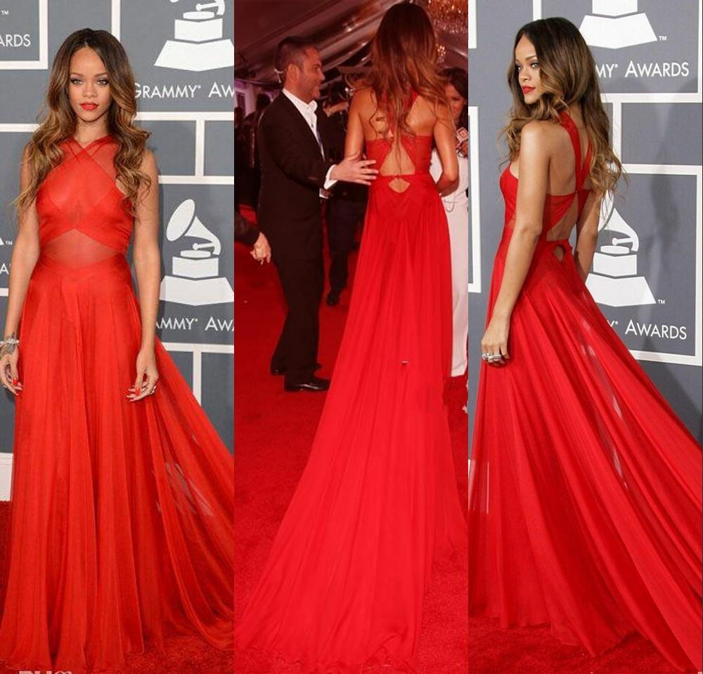 55th Grammy Rihanna Prom Dresses Red High Neck Open Back Red Carpet ...