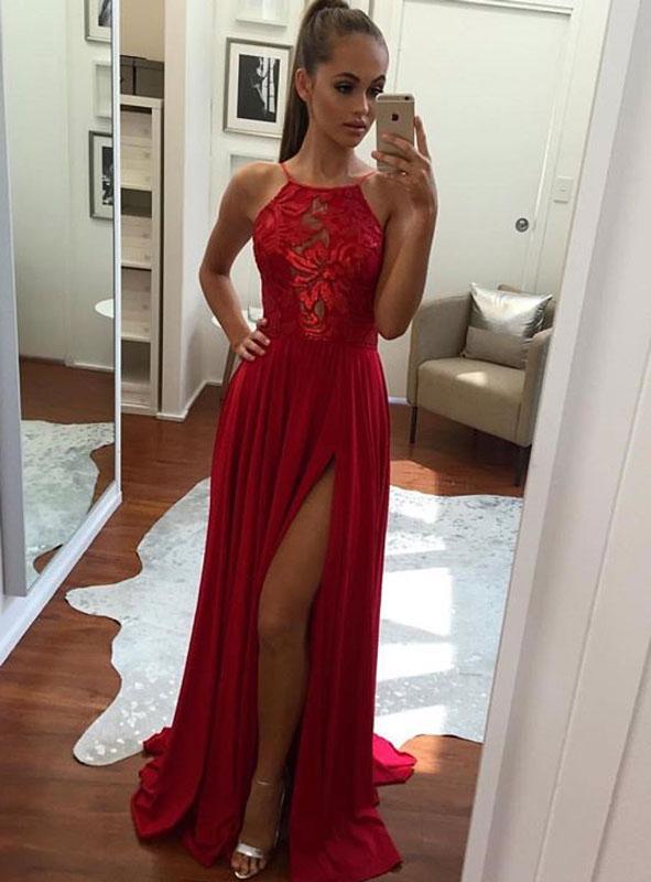 Unique A Line Halter Split Front Red Chiffon Long Promevening Dress