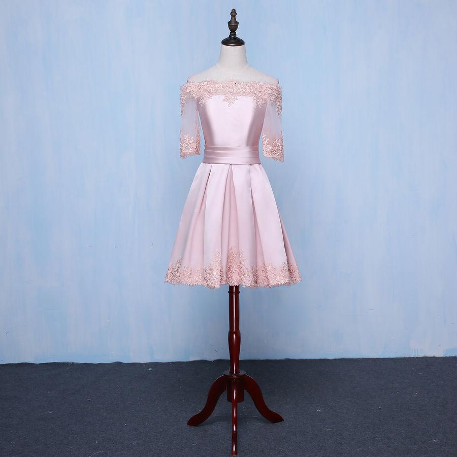 Pink Off Shoulder Short Prom Dress Evening Dress Party Dress Custom Size  Color