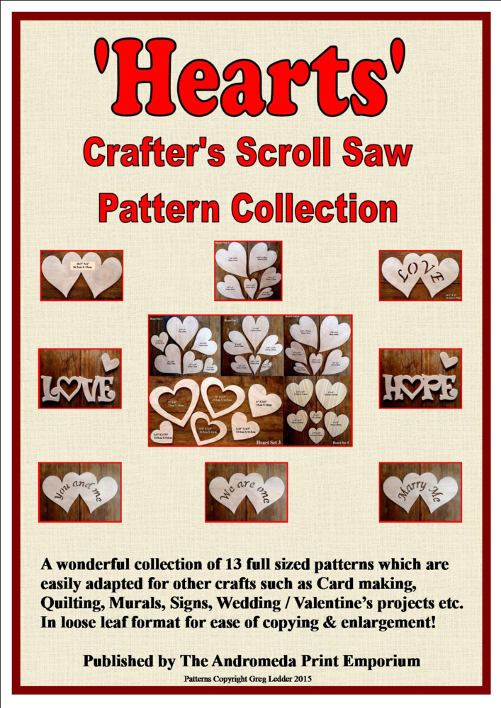 hearts 13 full size scroll saw patterns for crafters free