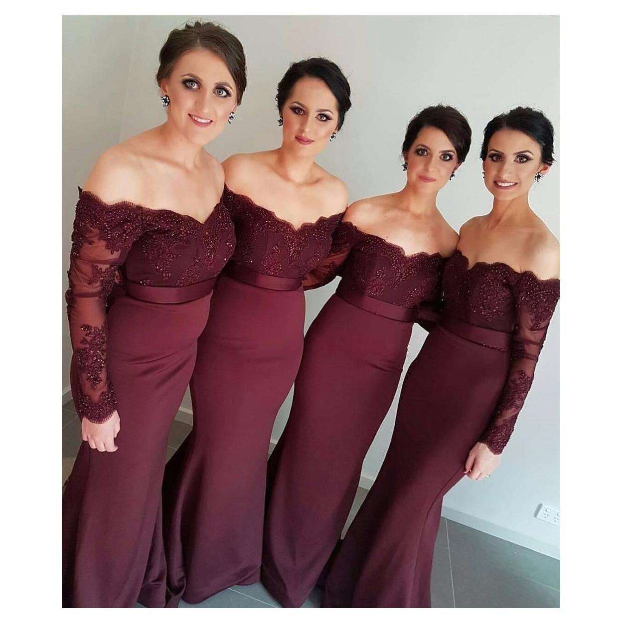 6b867deff03 Burgundy Off Shoulder Long Sleeve Lace Bodice Mermaid Bridesmaid Dress