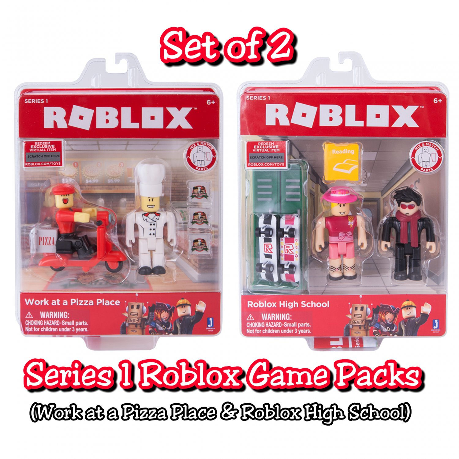 Set Of 2 Roblox Series 1 Game Packs Work At A Pizza Place Roblox