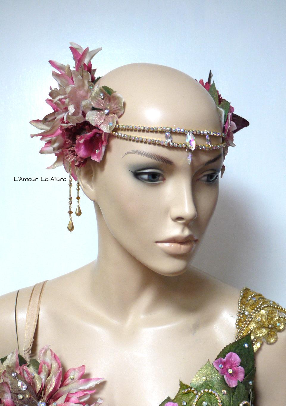 Flower Halloween Costume | Golden Spring Fairy Goddess Flower Crown Halloween Costume Headband