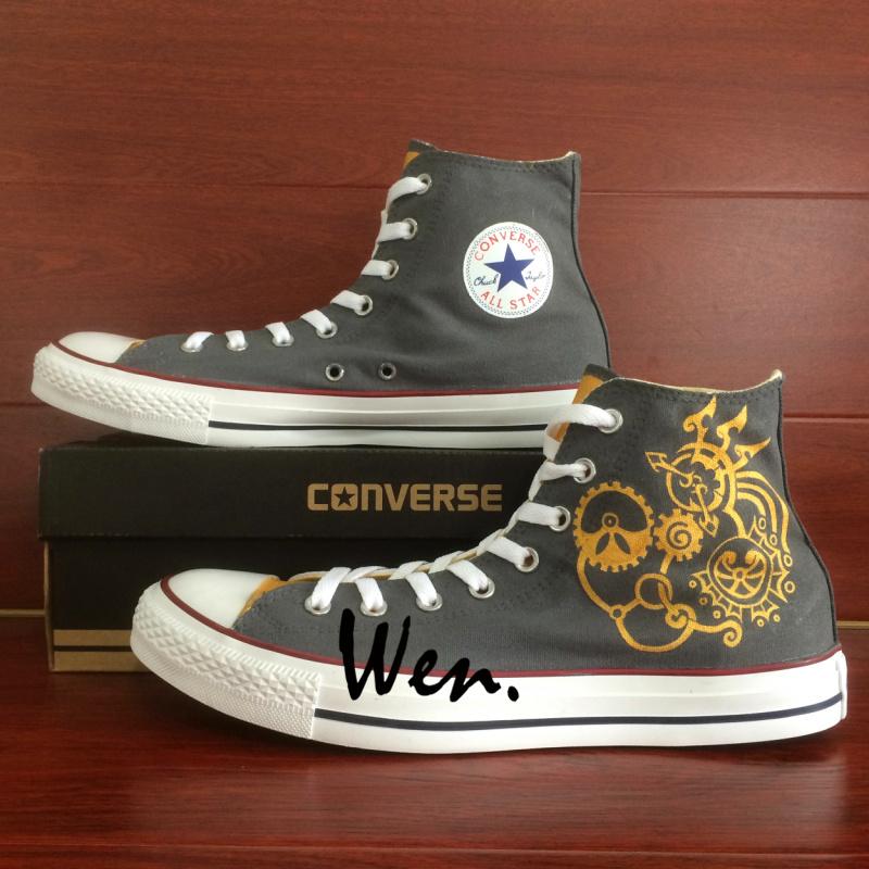 3178329eedf9 Gear Punk Original Design Gray Converse All Star Custom Design Hand ...