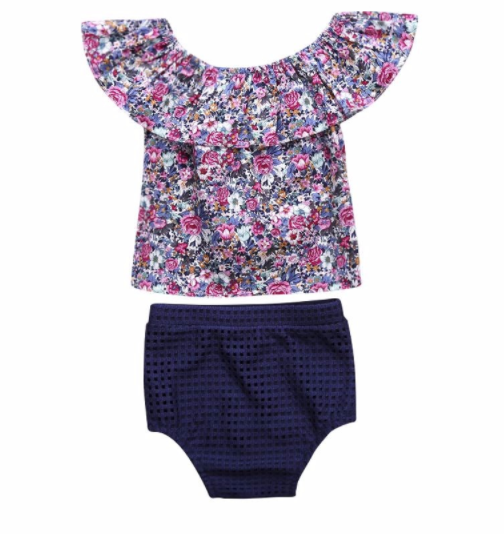 5532a84a8a3 Baby Toddler Floral Shirt Bloomer Set · Blush + Willow