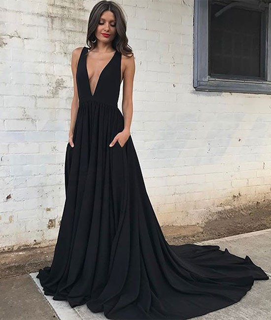 Sexy Black Prom Dress Deep V Neckline