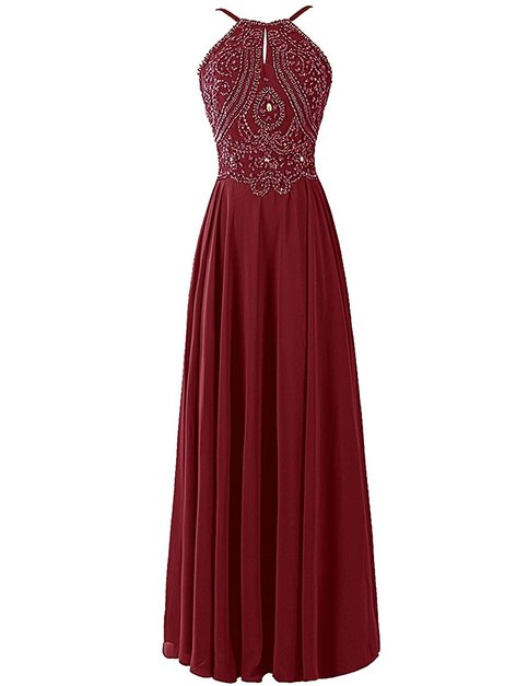 Burgundy Prom Dress With Halter Strap Prom Dresses