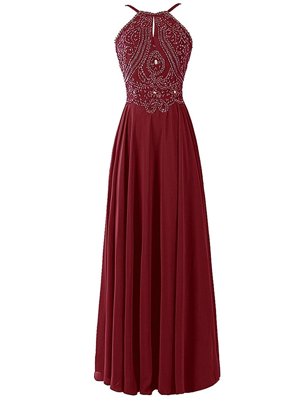 1219f8fe312 Burgundy Prom Dress with Halter Strap