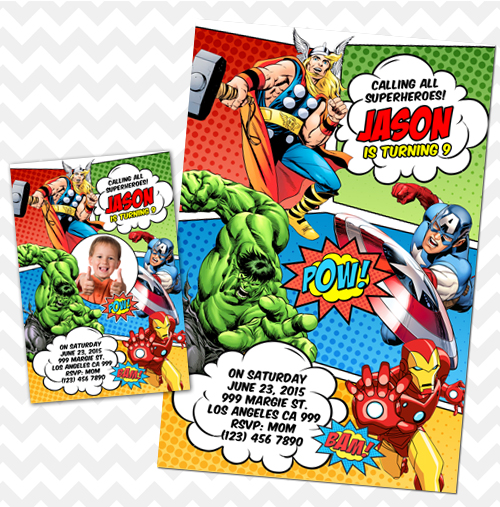 Avengers Invitation, Avengers Invites, Avengers Birthday
