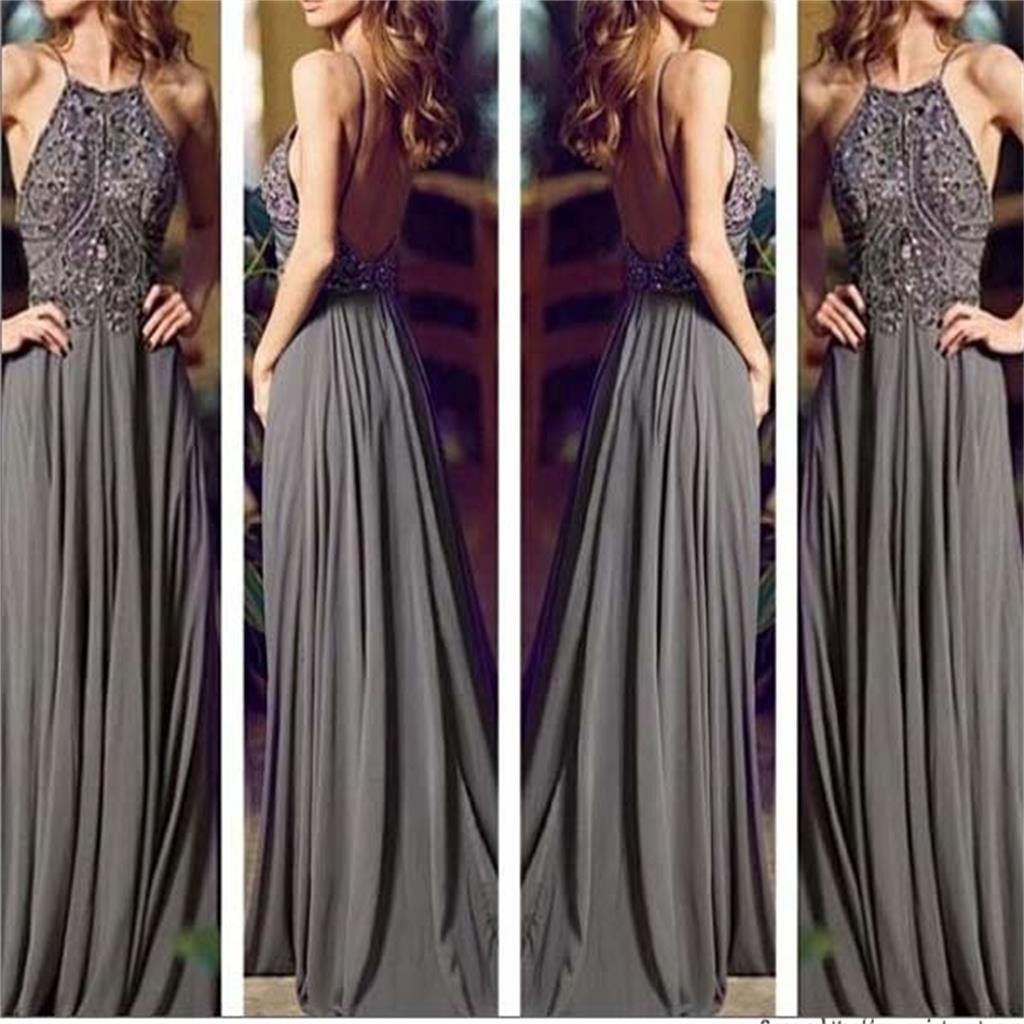 2783c78b3b Backless Dark Grey Prom Dress with Thin Strap
