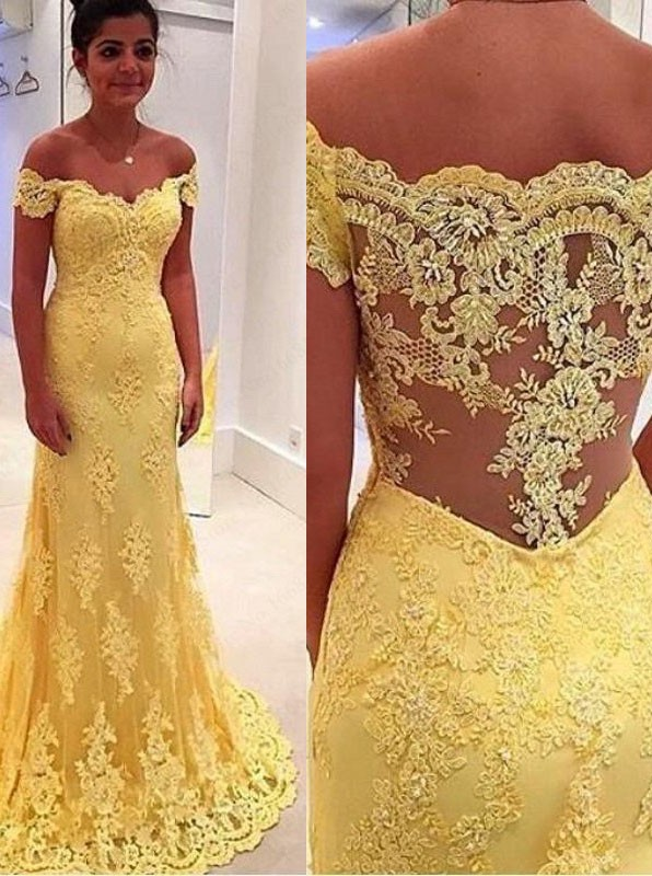 Off the Shoulder Lace Prom Dresses, Wedding Party Dresses, Formal ...