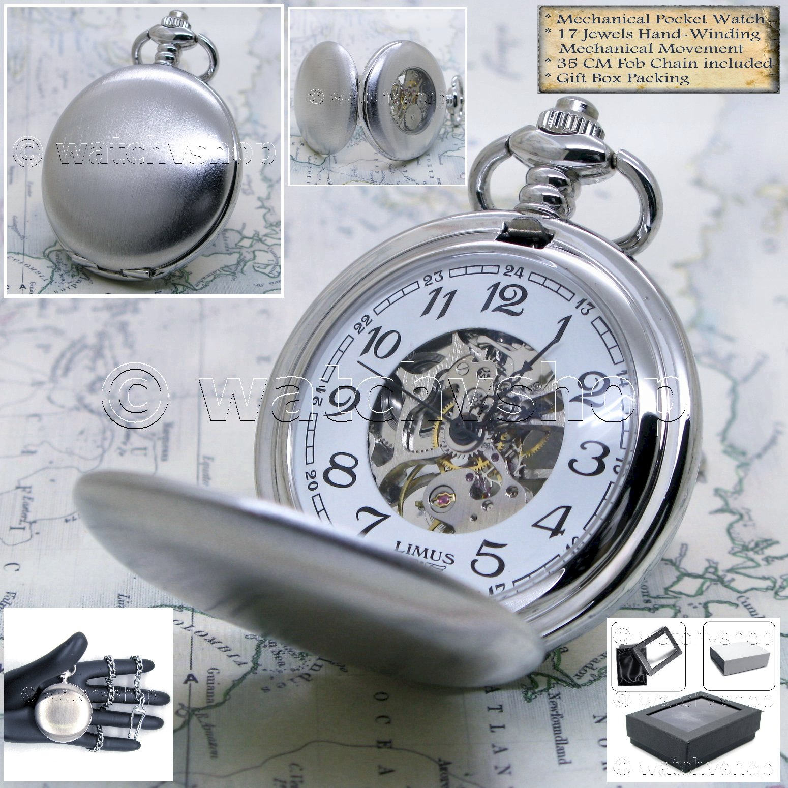 416db1f3d SILVER MECHANICAL 17 Jewel Pocket Watch Skeleton Back With Chain ...