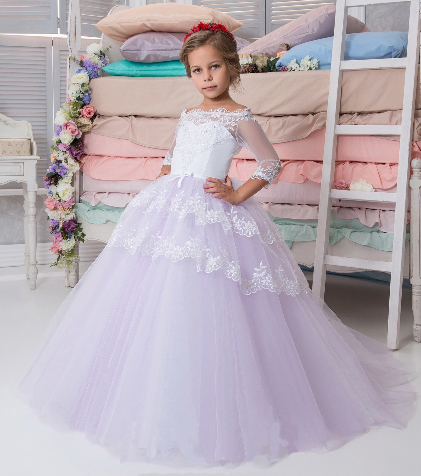 Flower girl dress white purple flower girl dress flower girl flower girl dress white purple flower girl dress flower girl dresses girls first communion dressgirls wedding party dress on storenvy mightylinksfo