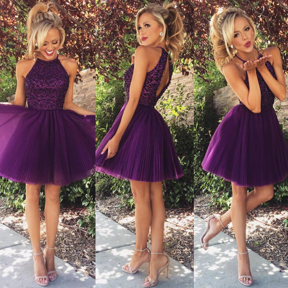 3a9fec851883 Grape Color Homecoming Dress