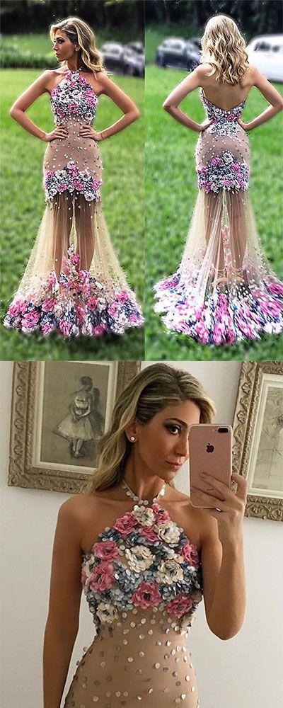 Unique Tulle Applique Flower Long Prom Dress Formal Dress Evening