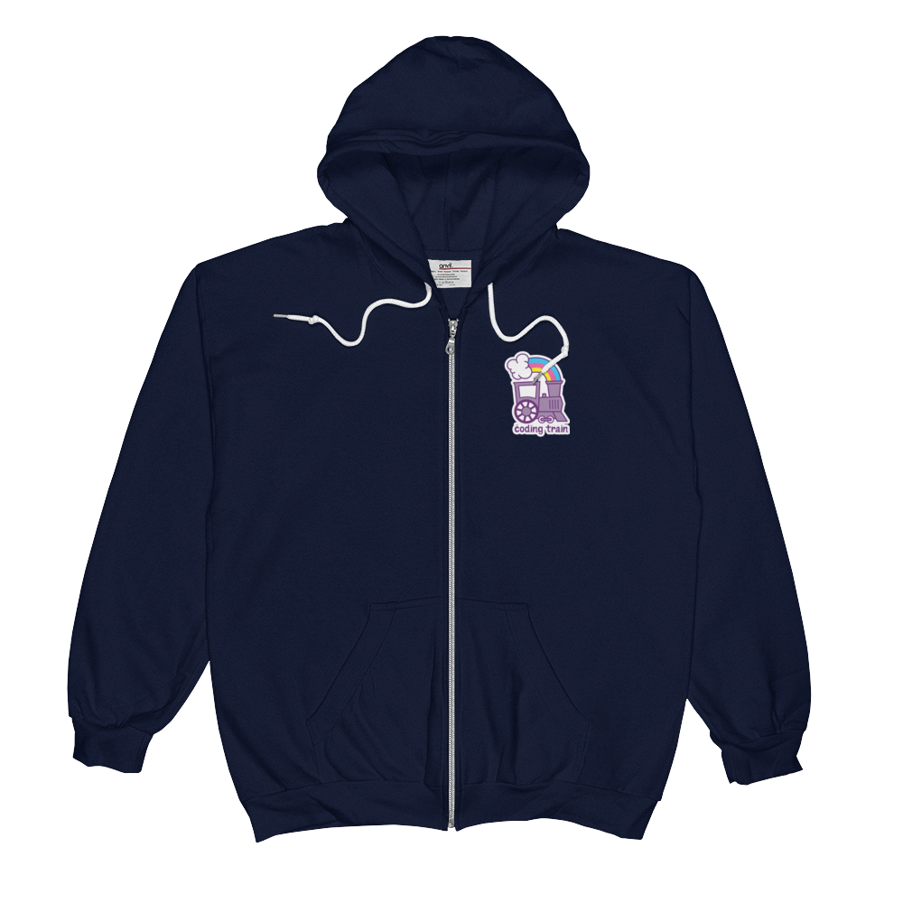 a5e68bb07311 Navy Zip Up Hoodie · The Coding Train · Online Store Powered by Storenvy
