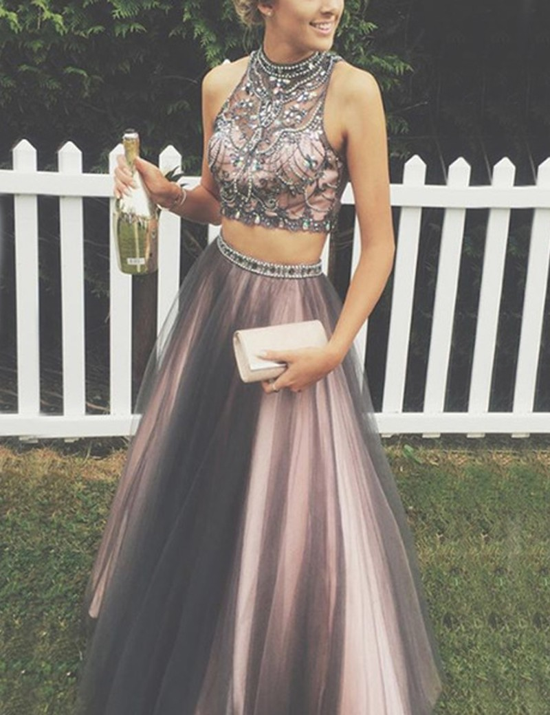 Two Piece Tulle Halter Beaded Prom Dresses, Graduation Party Dresses ...