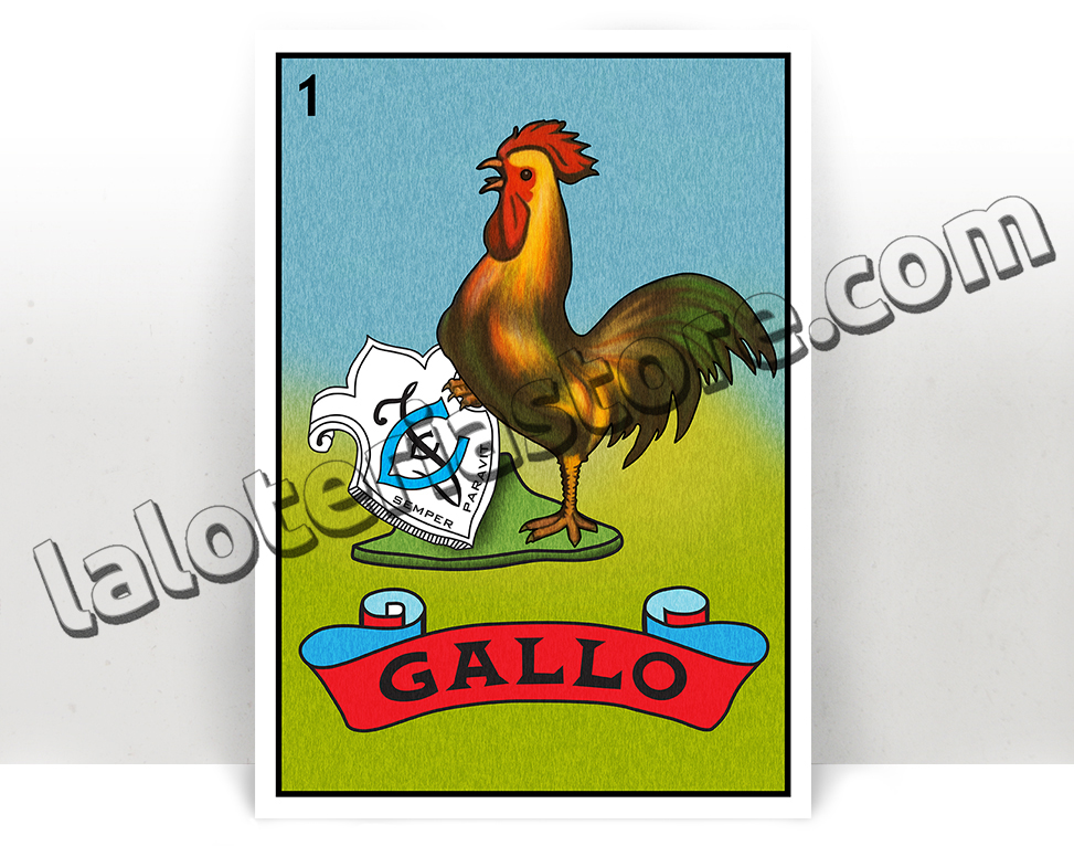 El Gallo Loteria - Mexican Bingo Art Print Poster - Many