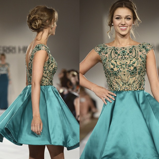 Short Ball Gown Green Homecoming Dress satin homecoming dress sweet ...