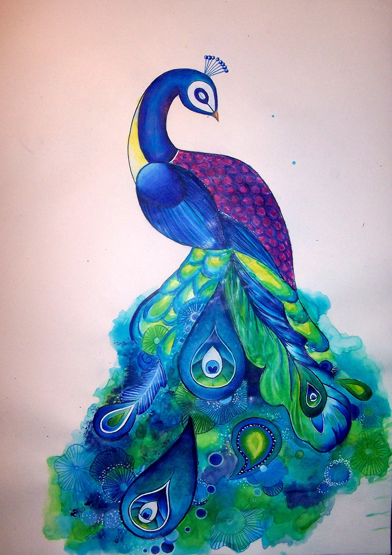 Blue Peacock Print Shannon Gordy Artwork Online Store Powered