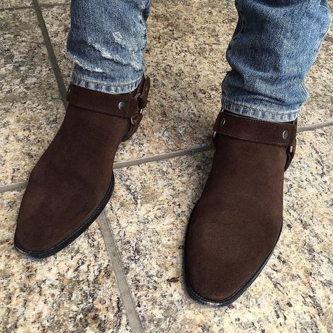 Handmade Men Brown Suede Bike Boot Men Ankle Boot Men