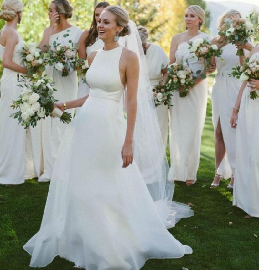 41342b1f6a A line Halter Neckline Sexy Open Back Wedding Dress · Sancta Sophia ...