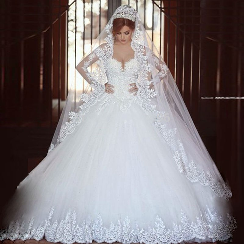 Princess Style Wedding Dress With Sleevesdresses For Bridesbridal