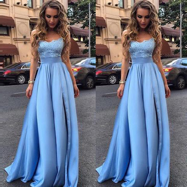 Hot Sales Light Blue Lace Strapless Long Evening Prom Dressesfront