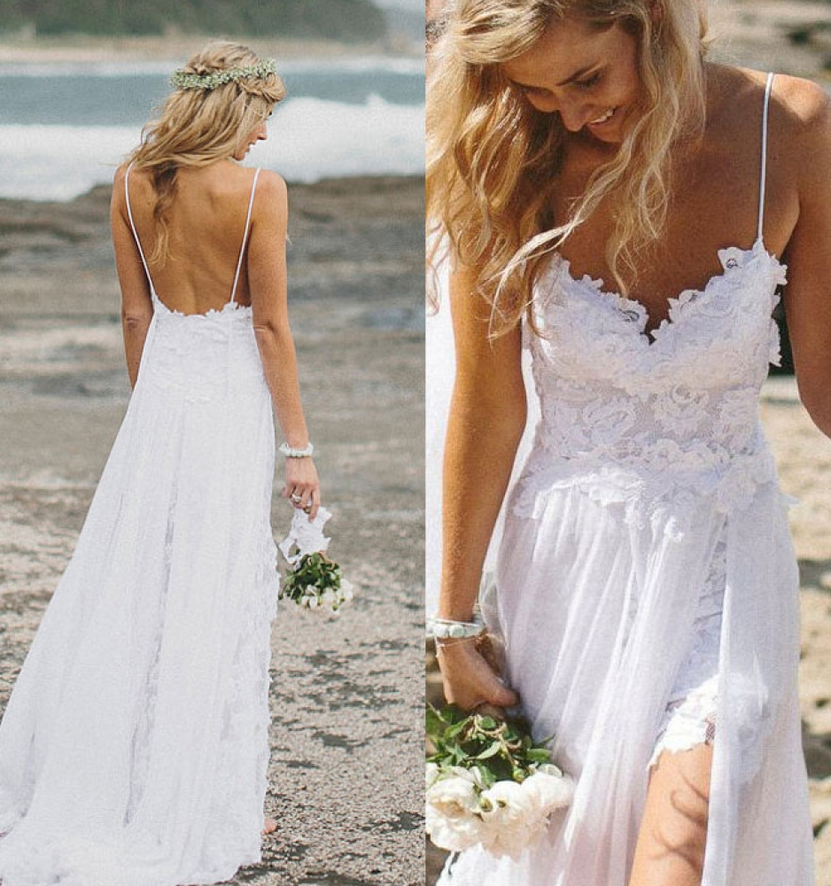 Backless Wedding Gowns: Top Selling Lace Beach Wedding Dresses,Long White Wedding