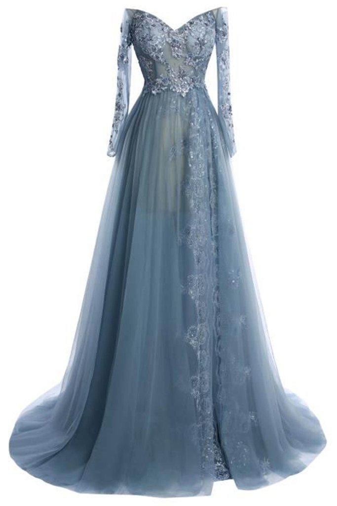 Charming Prom Dresslong Sleeve Evening Dresstulle Evening Dress